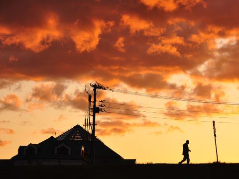 新潟ふるさと村の夕焼け