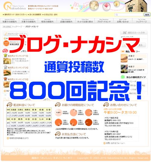 ブログ・ナカシマ800回記念