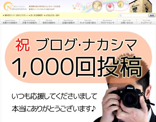 ブログ・ナカシマ1000回記念