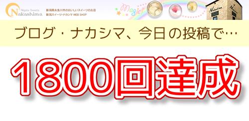 ブログ・ナカシマ1800回投稿達成